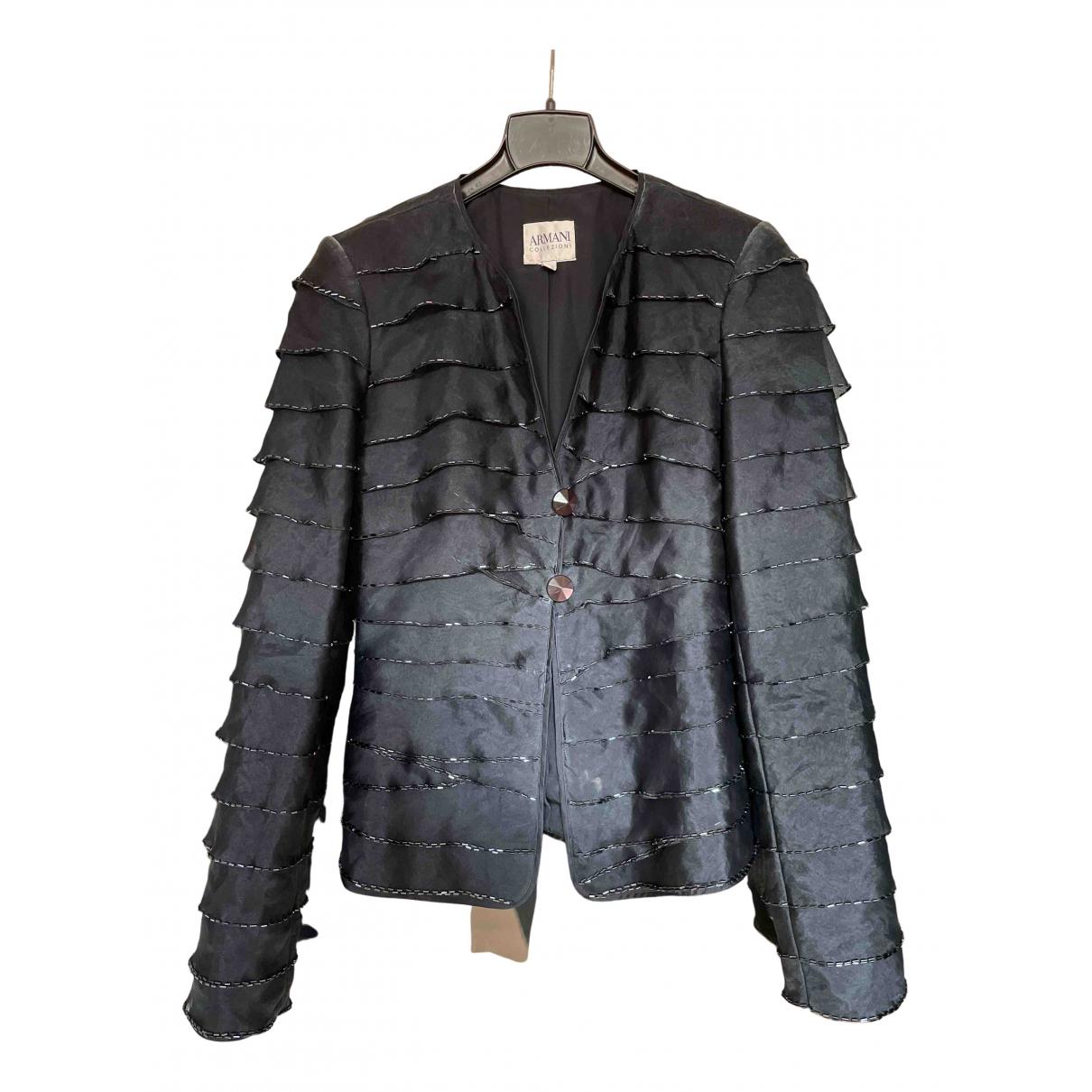 Armani Collezioni - Veste   pour femme en soie - noir