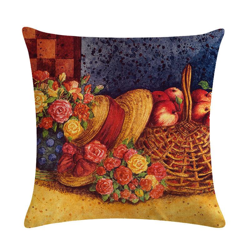 Vintage European Sketch Painting Snowman Linen Cushion Cover Home Sofa Art Decor Throw Pillowcases