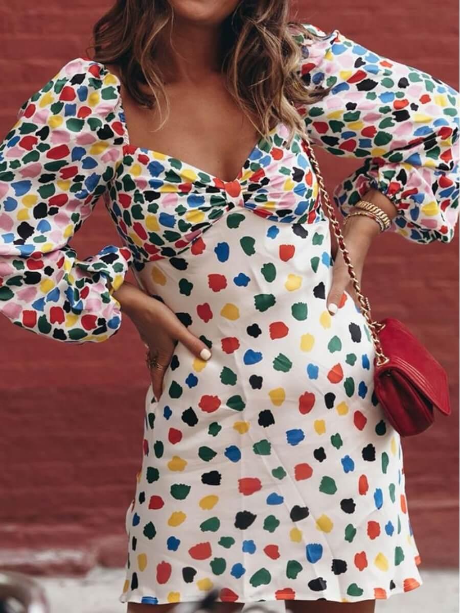LW Lovely Sweet Puffed Sleeve Print Multicolor Mini Dress