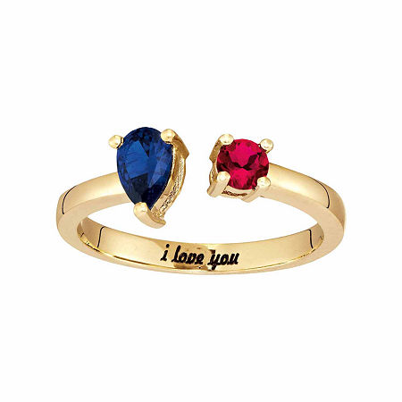 Personalized Simulated Birthstones Sweetheart Couples Ring, 7 , Yellow