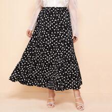 Plus Geo And Polka Dot Print Flared Skirt