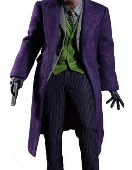 MenÕs Single Breasted Wool Blend Purple coat