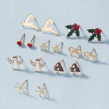 8pairs Christmas Tree Design Stud Earrings