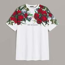 Maenner T-Shirt mit Blumen & Buchstaben Grafik