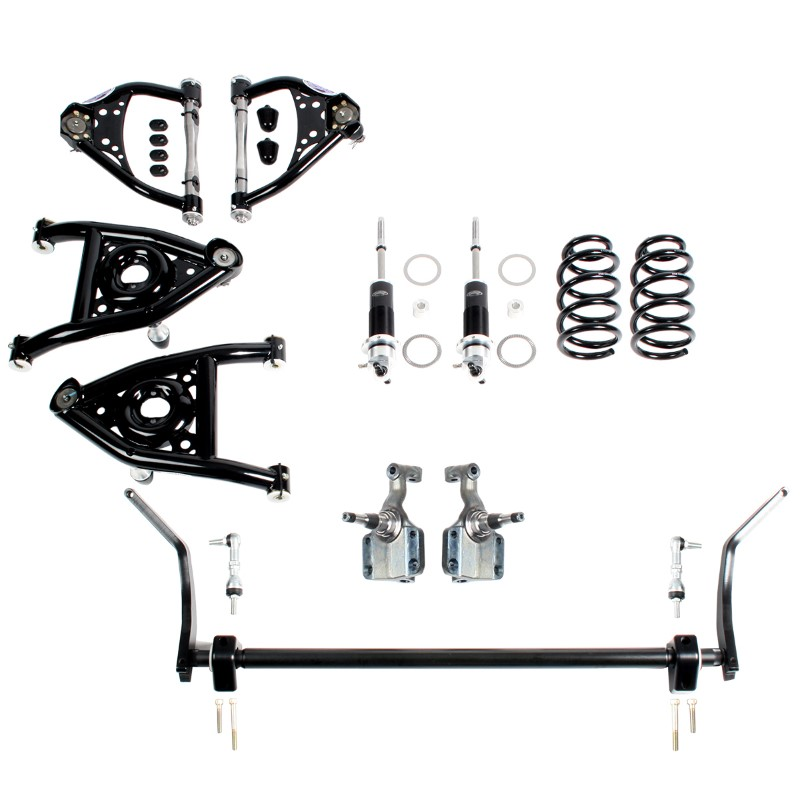 Detroit Speed 031347-R  Speed Kit 2 Front Suspension Kit with Splined Sway Bar Double Adjustable Shocks w/Remote Canister 1968-1972 A-Body SBC