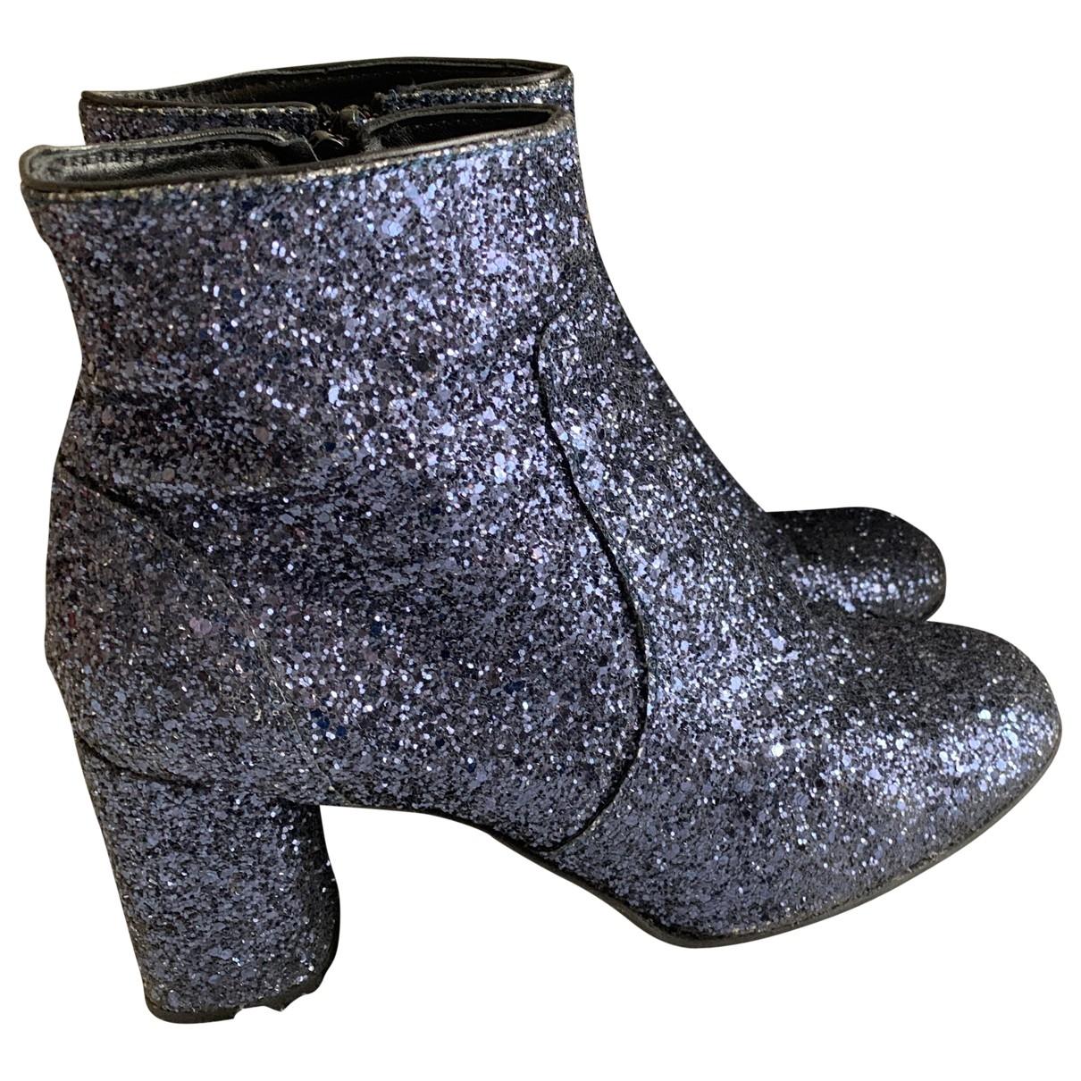 - Boots   pour femme en a paillettes - bleu