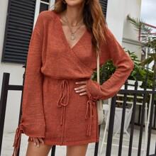 Lace Up Cuff Drawstring Waist Sweater Dress