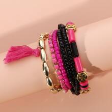6pcs Tassel Charm Beaded Bracelet