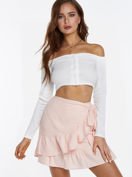 Yoins White Off The Shoulder Button-up Front Long Sleeves Crop Top