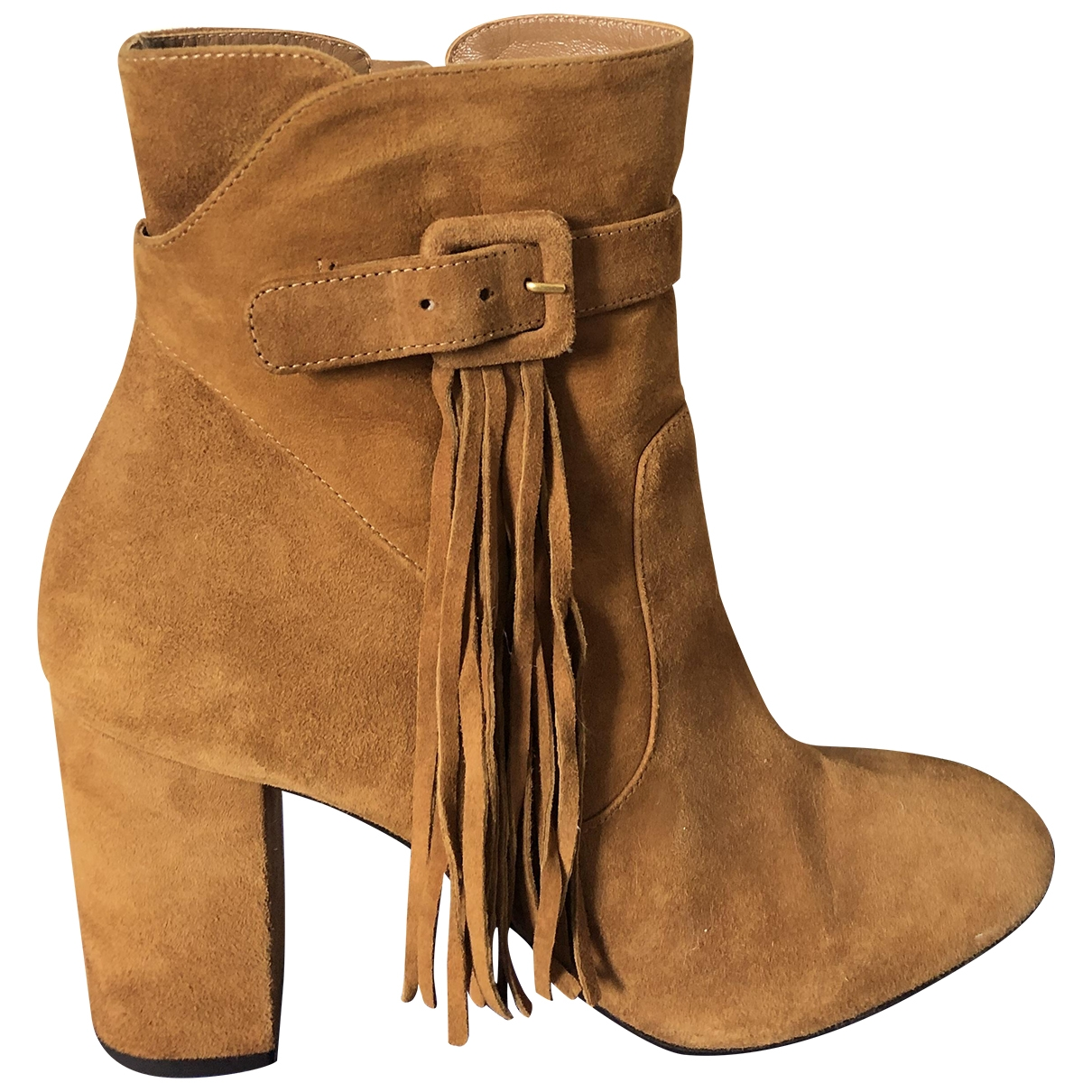 Aquazzura \N Camel Suede Ankle boots for Women 40 EU
