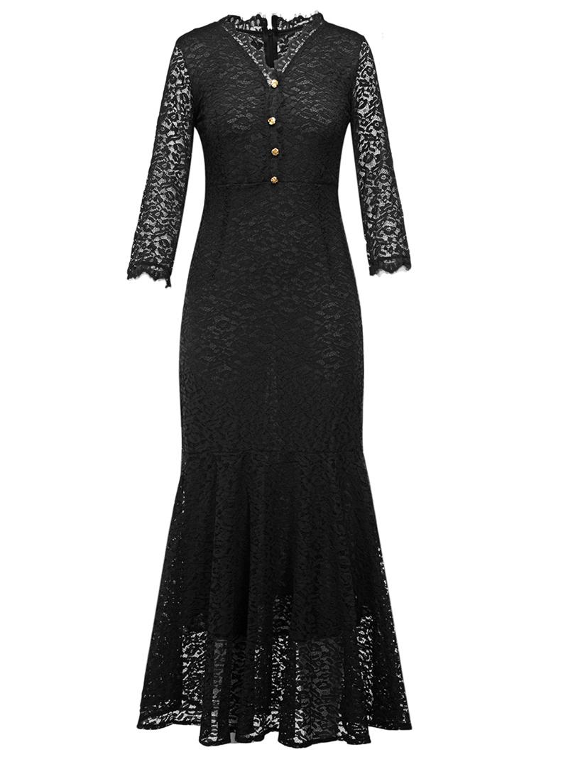 Ericdress V-Neck Button Mermaid Lace Maxi Dress