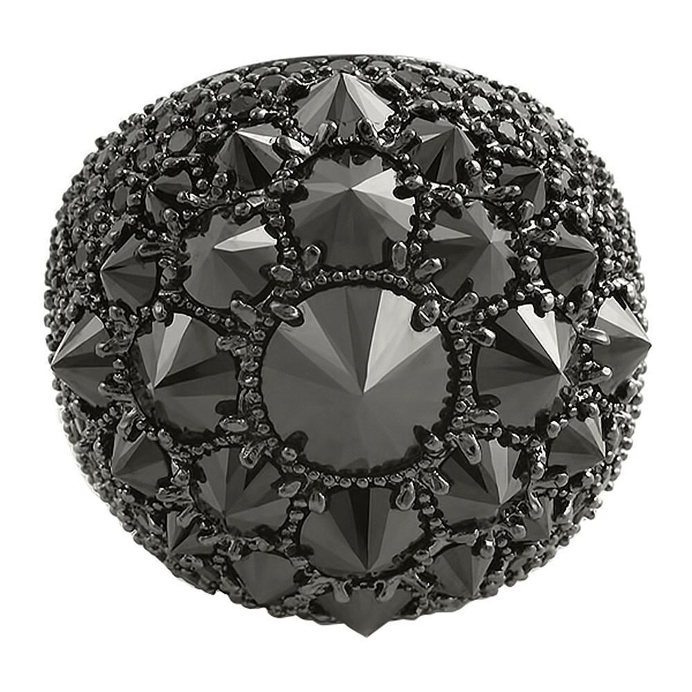 Reverse Set CZ Black Diamond XL Mens Bling Ring