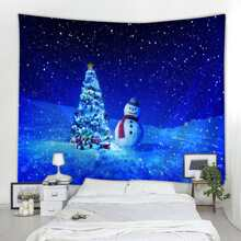 Christmas Snowman & Tree Tapestry