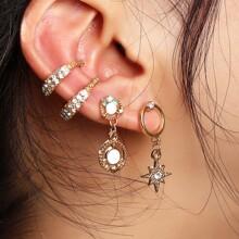 2 Paare Ohrringe mit Strass Dekor