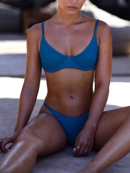 Milanoo Trajes de baño de dos piezas para mujeres Correas blancas Cuello Cintura natural Trajes de baño sexy de verano