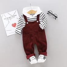 Vielfarbig Taschen  Gestreift Preppy Kleinkind Jungen zweiteilige Outfits
