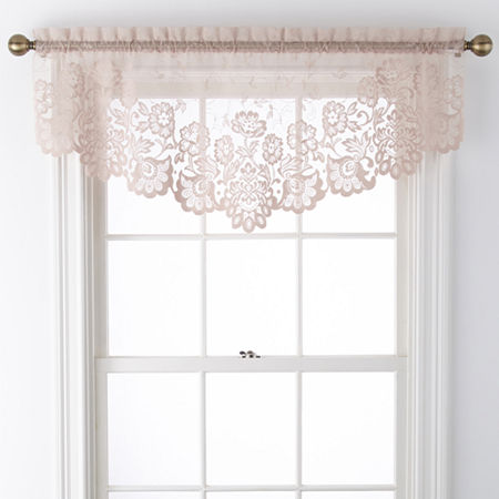 JCPenney Home Shari Lace Rod-Pocket Ascot Valance, One Size , Pink