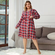 Plus Button Through Plaid Belted Night Dress