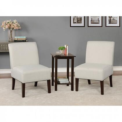 Elias Collection CM-AC6931BG 3 PC Armchairs and Accent Table Set with Tapered Legs  Open Bottom Shelf  Solid Wood Construction and Fabric-Like Vinyl