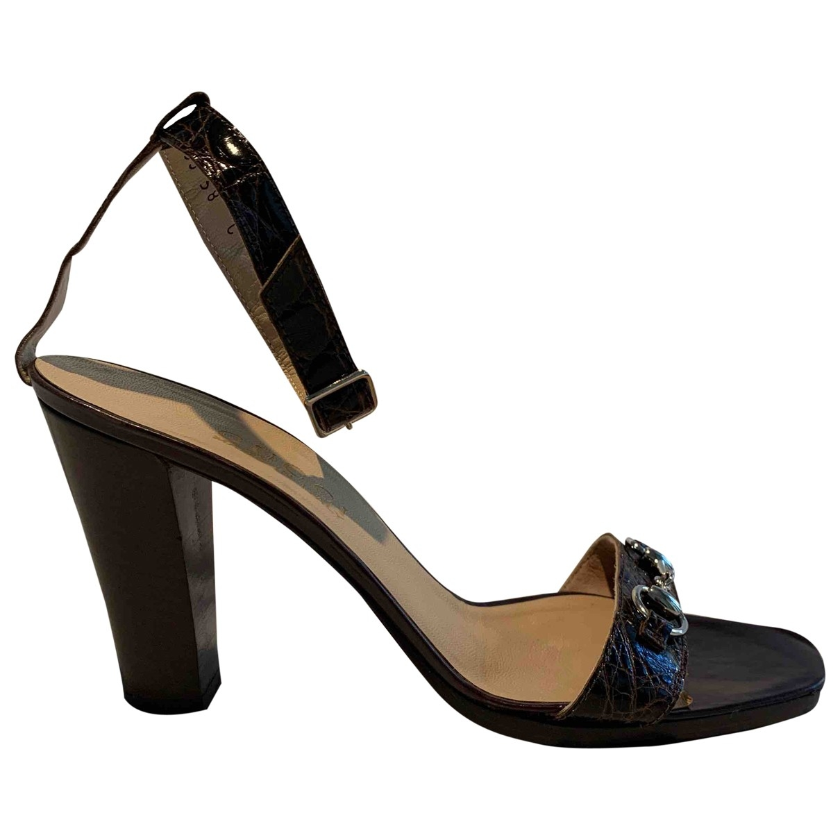 Gucci - Sandales   pour femme en crocodile - marron