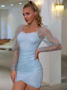 Double Crazy Sheer Mesh Gigot Sleeve Sequin Bodycon Dress