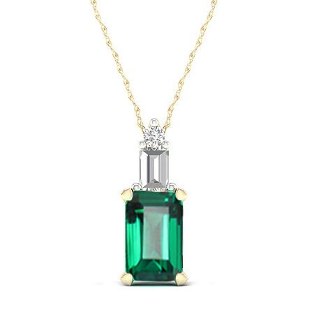Womens Genuine Green Emerald 10K Gold Pendant Necklace, One Size , No Color Family
