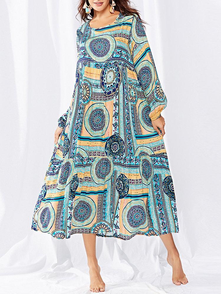 Bohemian Long Sleeve Crew Neck Print Dress