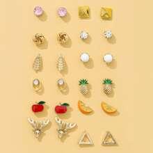 12pairs Triangle Apple Shaped Stud Earrings