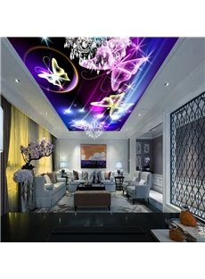 Purple Flutter Butterfly Printed PVC Waterproof Sturdy Eco-friendly Self-Adhesive Ceiling Murals