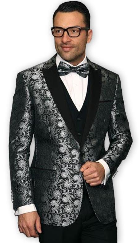 Mens Black shiny Paisley Blazer Sport Coat Jacket Suit Vested & Pants