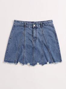 Plus Raw Hem Pocket Patched Denim Skirt
