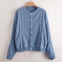 Plus Scallop Edge Button Front Cable Knit Cardigan