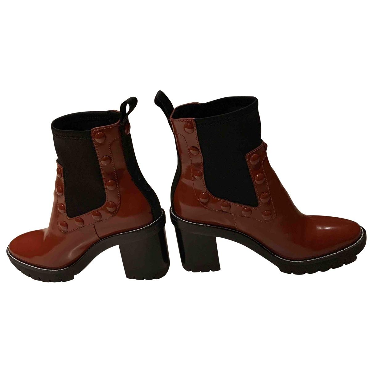 Tory Burch - Bottes   pour femme en cuir verni - marron