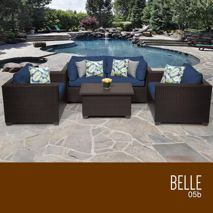 BELLE-05b-NAVY Belle 5 Piece Outdoor Wicker Patio Furniture Set 05b with 2 Covers: Wheat and