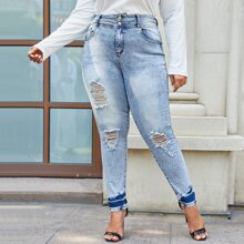 Plus High Waist Ripped Fitted Jeans