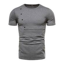 Men Solid Button Detail Tee