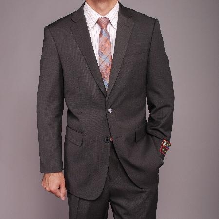 2 Button Gray Teakweave Suit Mens Cheap