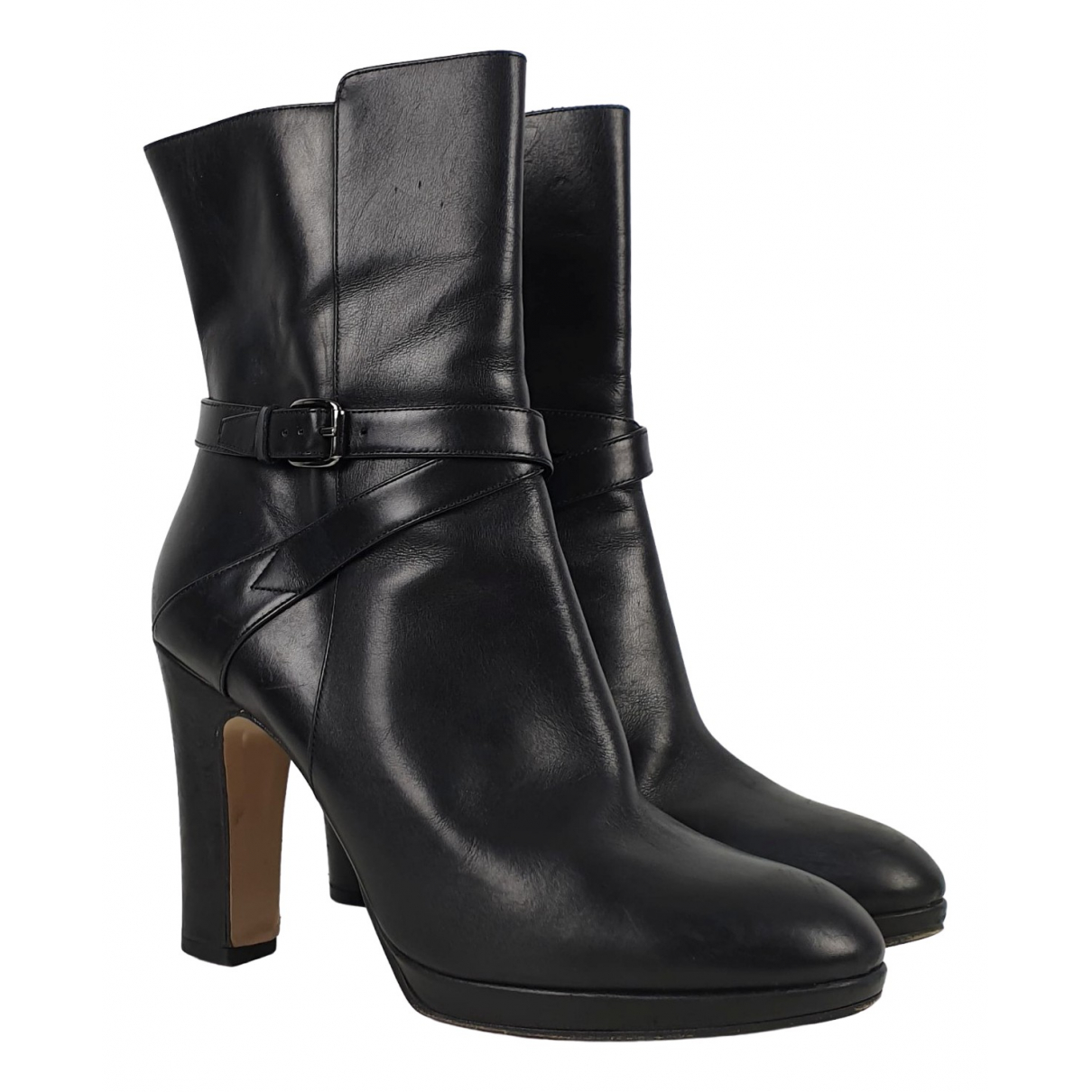 Max Mara \N Black Leather Ankle boots for Women 39 IT