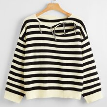 Plus Striped Ripped Drop Shoulder Sweater
