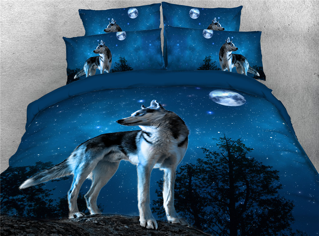 Wolf Under The Moon Duvet Cover Set Hand Wash Four-Piece Set Polyester Bedding Sets