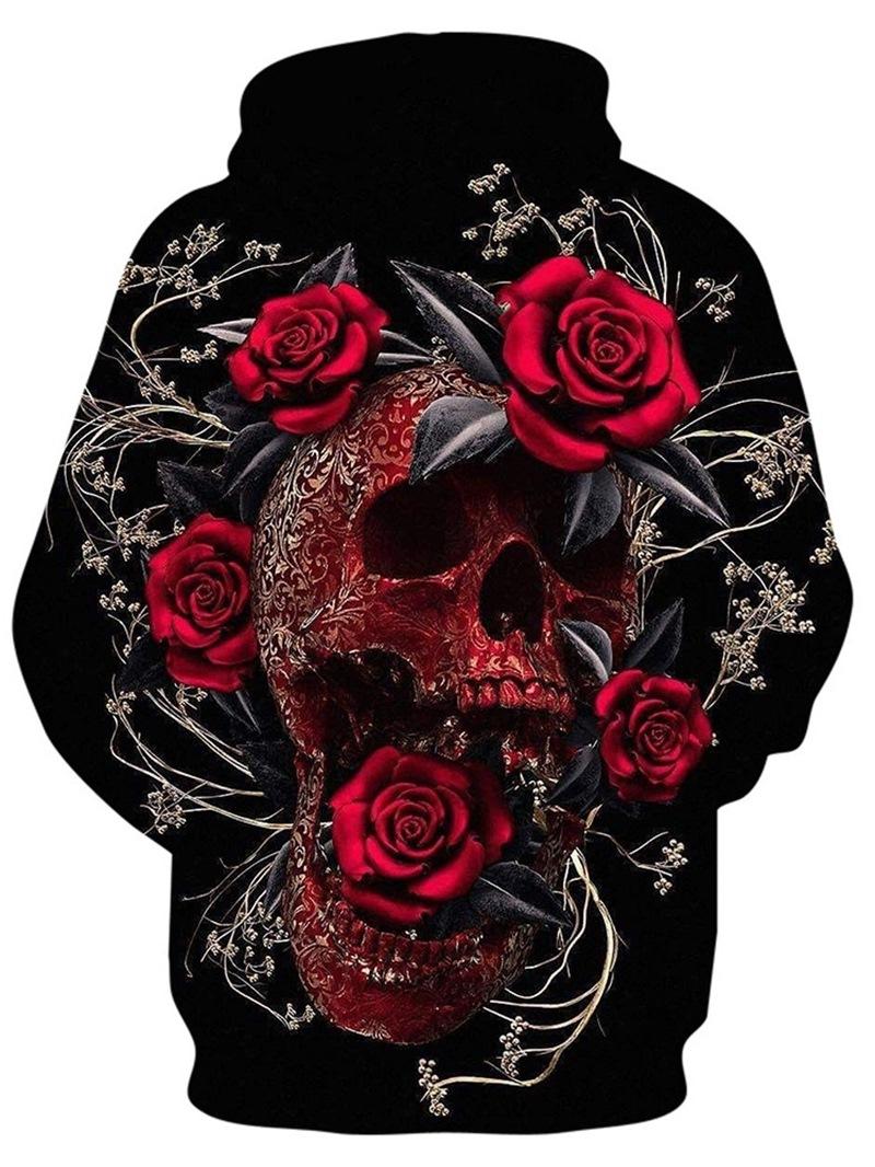 Ericdress Casual Print Skull Straight Short Sleeve T-shirt