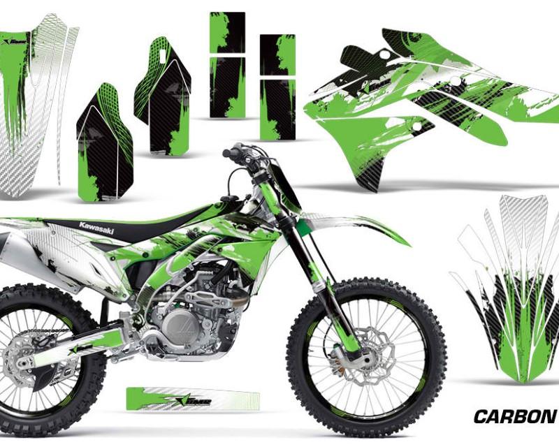AMR Racing Graphics MX-NP-KAW-KX450-16-18-CX G Kit Decal Sticker Wrap + # Plates For Kawasaki KXF450 2016-2018 CARBONX GREEN