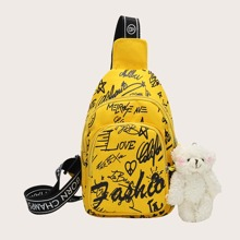 Toy Charm Letter Graphic Sling Bag