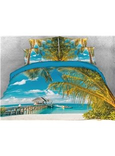 Palm Tree and Beach Blue Sea Printed 4-Piece 3D Bedding Sets/Duvet Covers