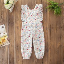Toddler Girls Ruffle Trim Ditsy Floral Overall