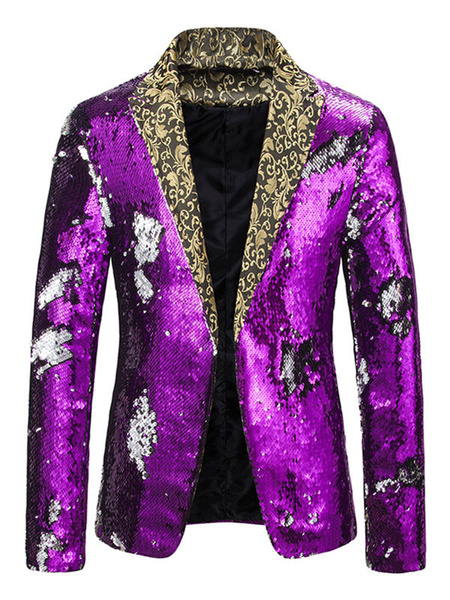 Milanoo Sequin Blazers Jackets Patchwork Casual Suits For Man