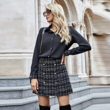Button Through Blouse & Tweed Skirt