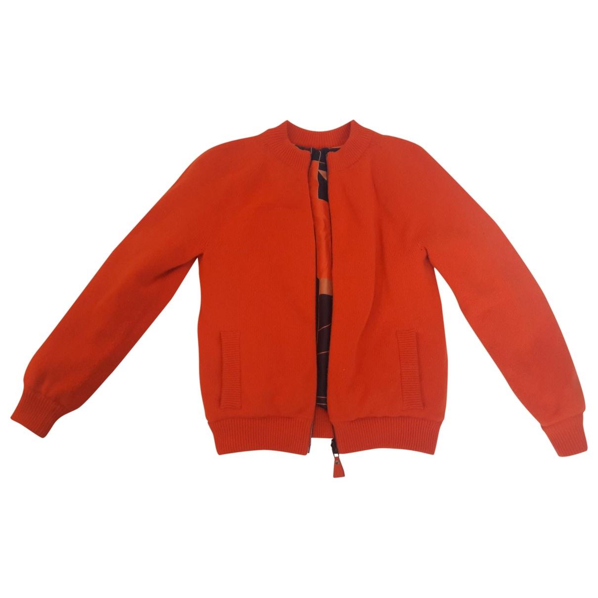 Hermes \N Lederjacke in  Orange Wolle
