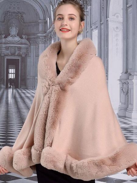 Milanoo Poncho de mujer con cuello alto Poncho rosa Capa de piel sintetica en capas