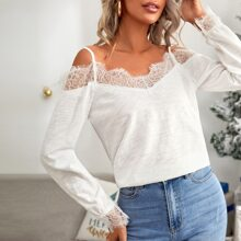 Eyelash Lace Trim Cold Shoulder Tee